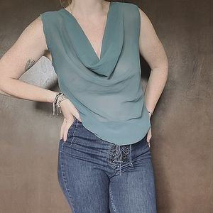 y2k Reworked Sheer Cowl Neck Blouse